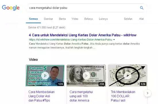 cara mengetahui dolar palsu